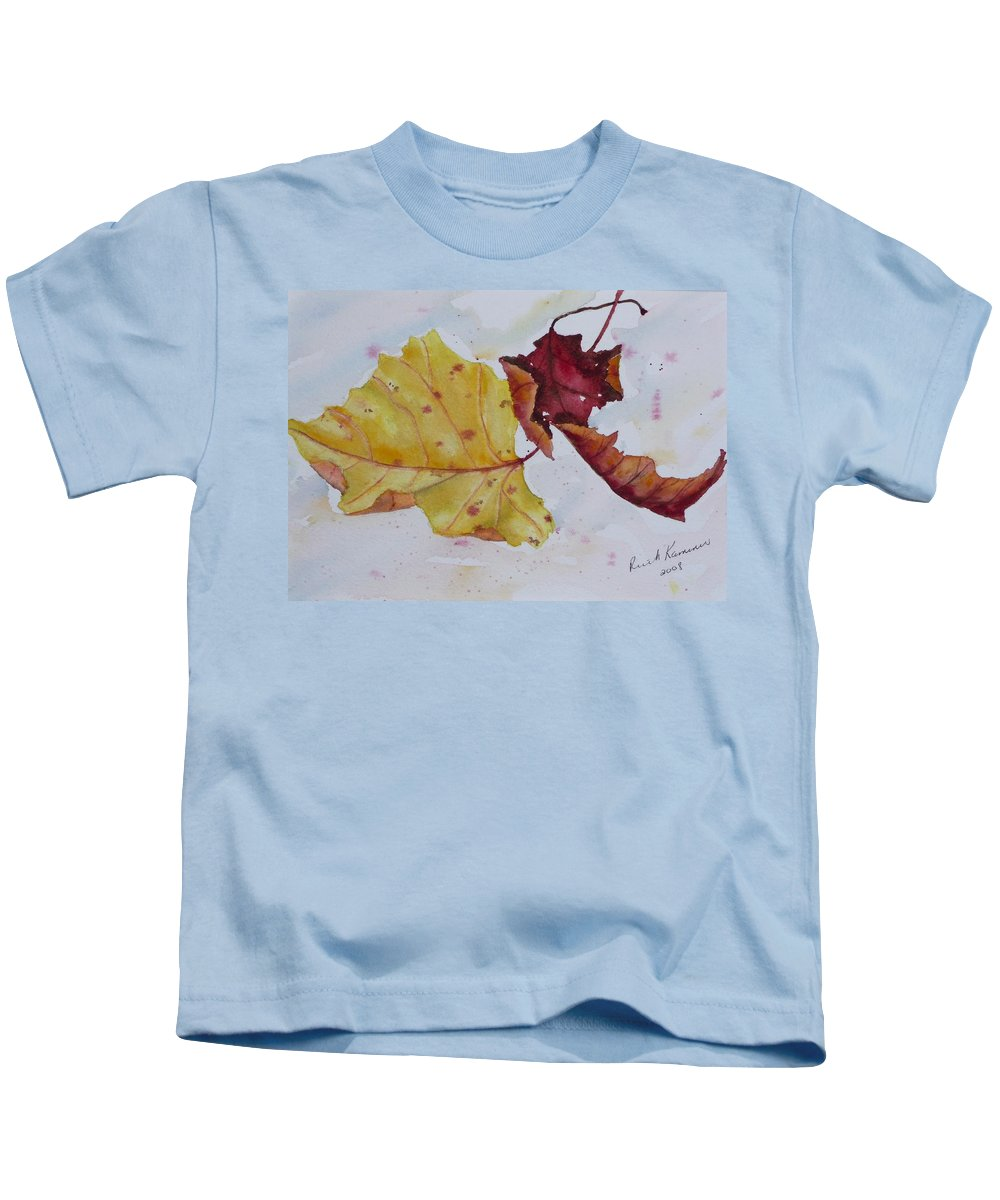 Fall Kids T-Shirt featuring the painting Tumbling by Ruth Kamenev