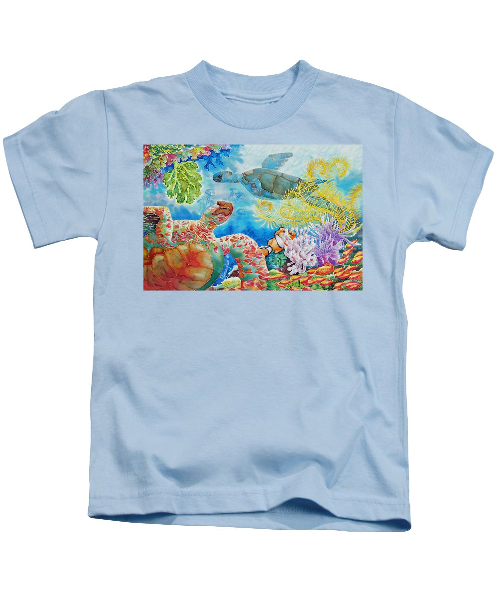 Fish Kids T-Shirt featuring the painting Turtle Territory by Deborah Younglao