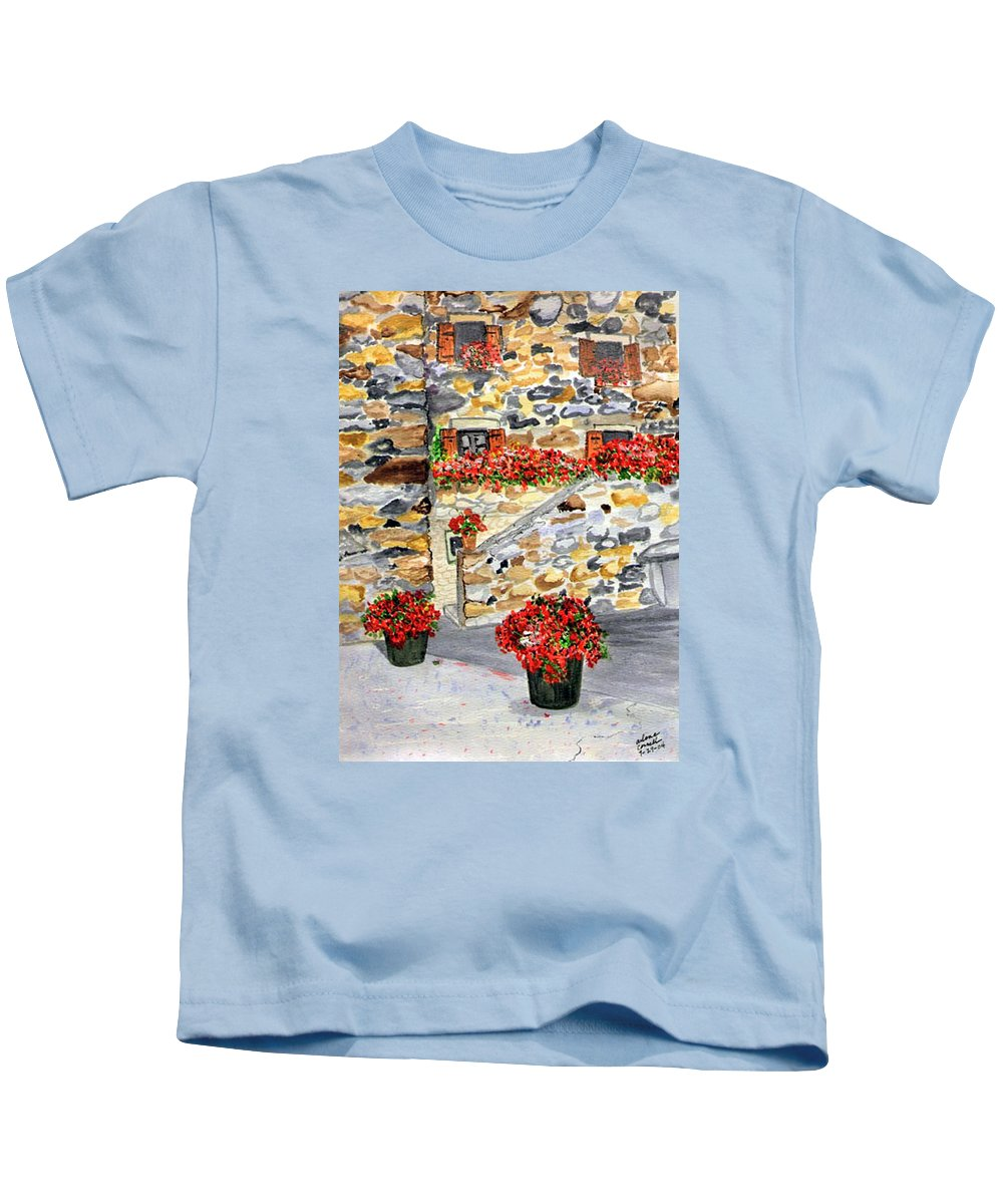 Tuscan Courtyard Kids T-Shirt featuring the painting Tuscan Courtyard I by Arlene Wright-Correll