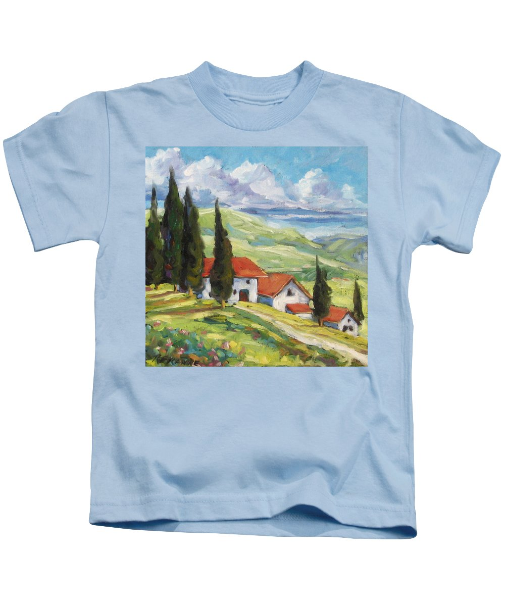 Tuscan Kids T-Shirt featuring the painting Tuscan Villas by Richard T Pranke