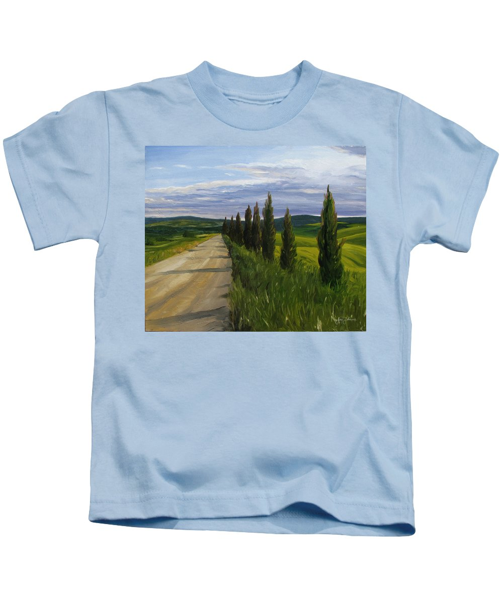 Kids T-Shirt featuring the painting Tuscany Road by Jay Johnson