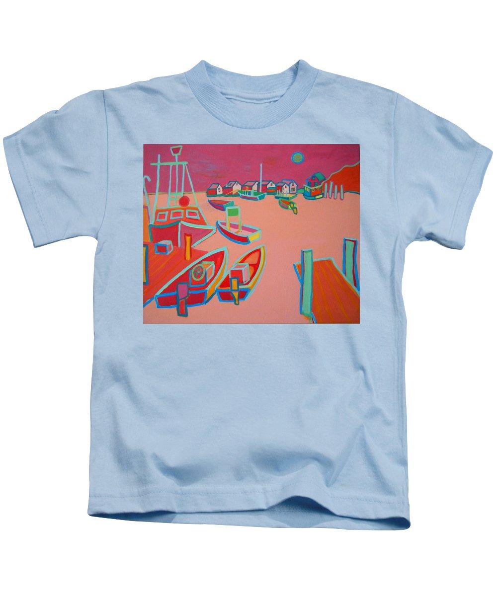Seascape Kids T-Shirt featuring the painting Twilight On Menemsha by Debra Bretton Robinson