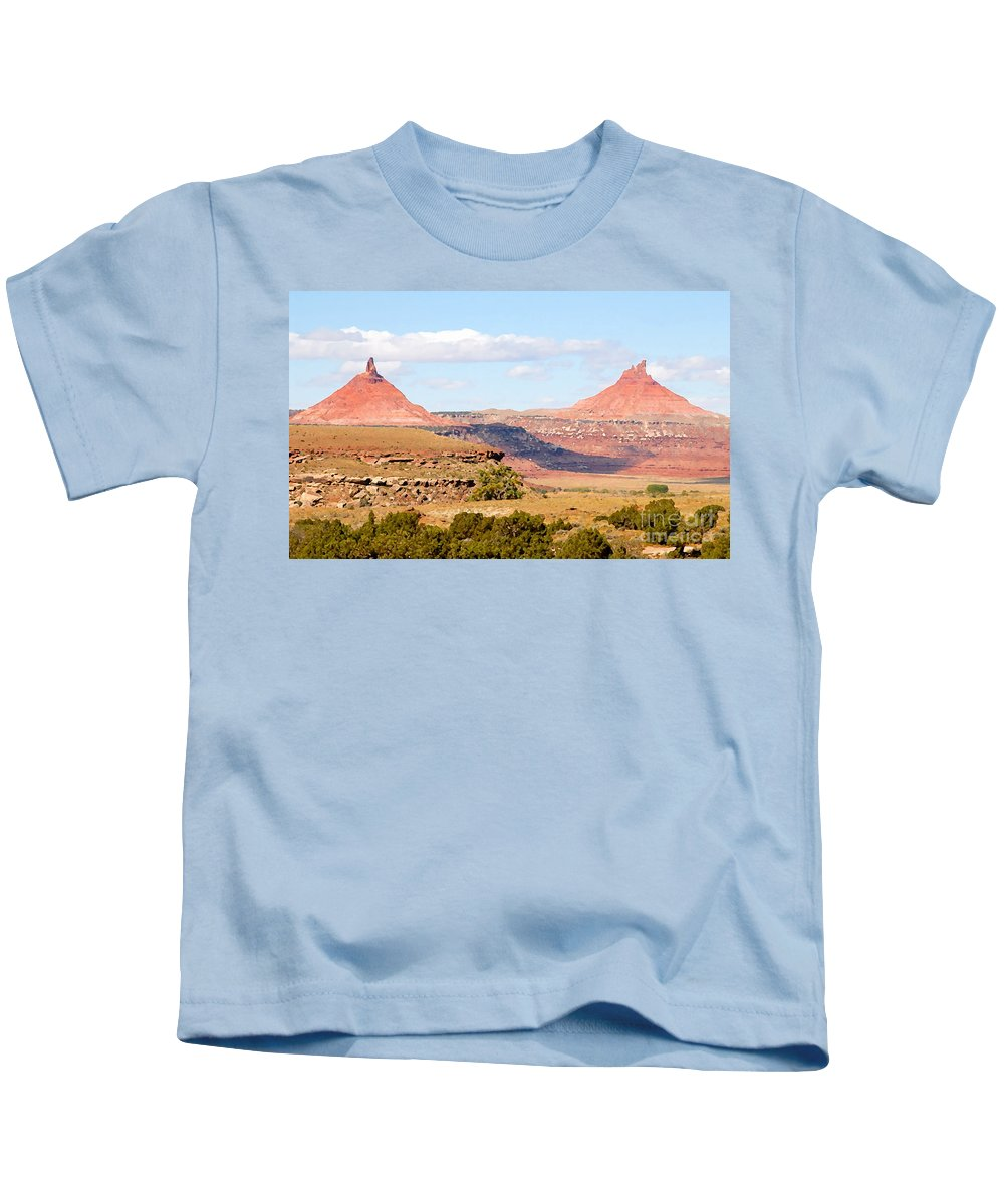 Twin Buttes Kids T-Shirt featuring the photograph Twin Buttes by David Lee Thompson