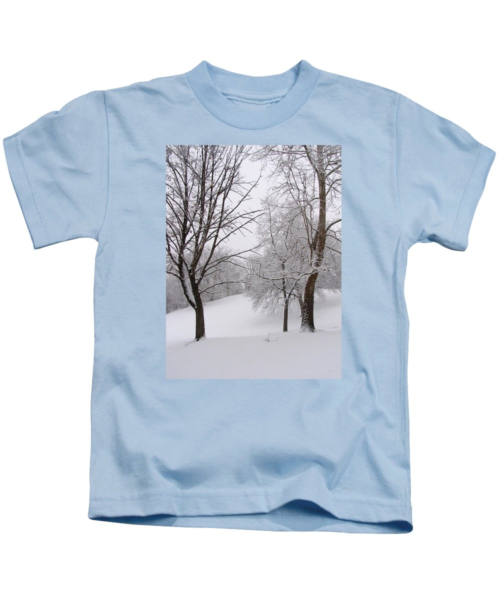 Ice Kids T-Shirt featuring the photograph Twins Trees In The Snow by Adam Long