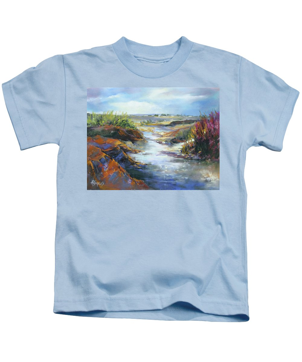 Landscape Kids T-Shirt featuring the painting Twists And Turns Near Johnson City by Rae Andrews