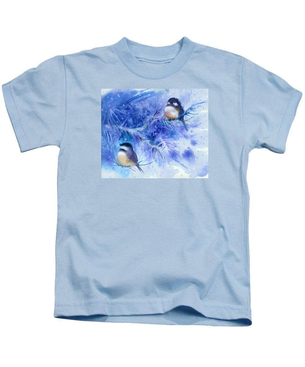Chickadees Kids T-Shirt featuring the painting Two Chickadees In Snow by Peggy Wilson