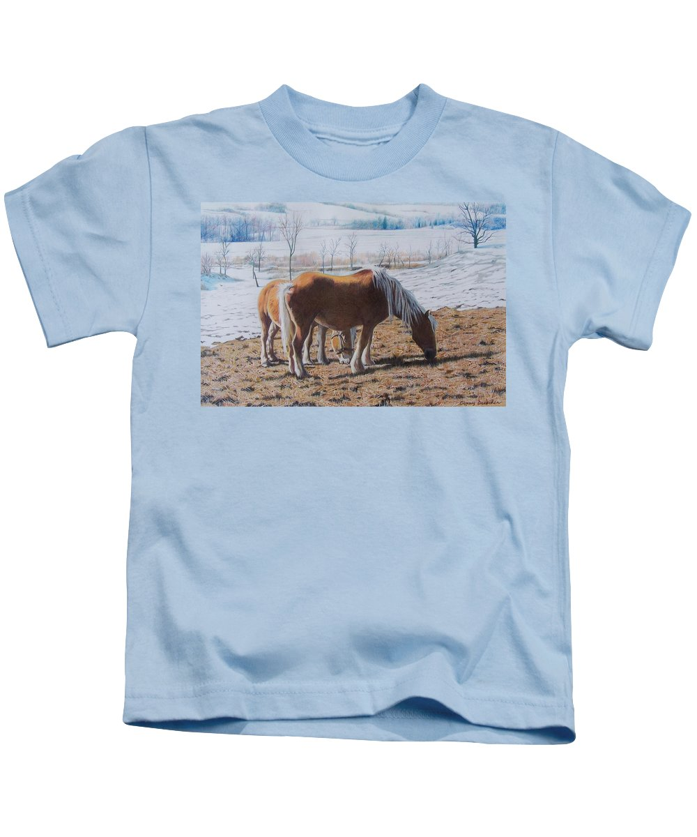 Horses Kids T-Shirt featuring the mixed media Two Ponies In The Snow by Constance Drescher