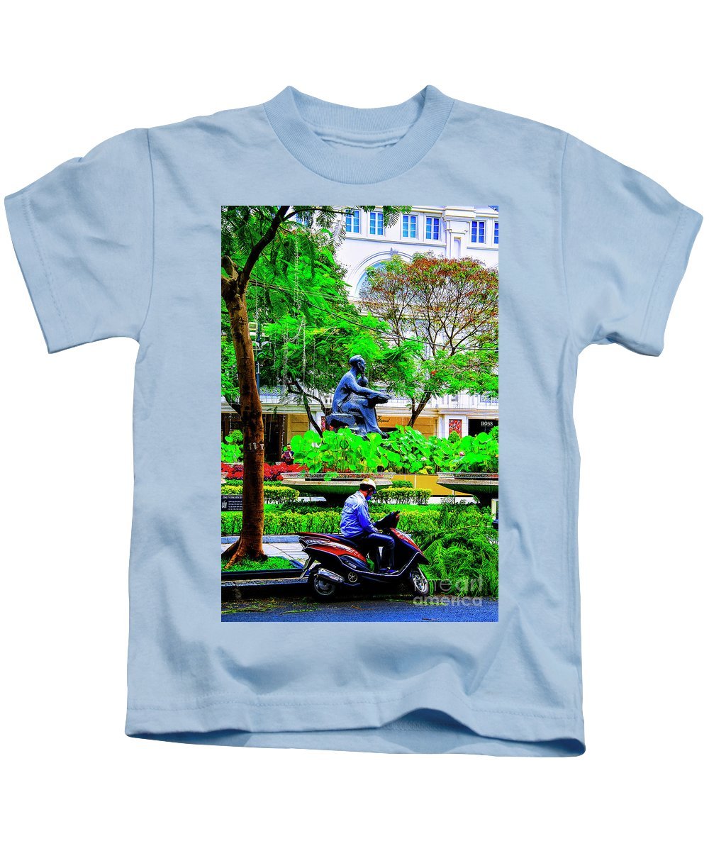 Vietnam Dalat City Parks Kids T-Shirt featuring the photograph Two Thinkers by Rick Bragan