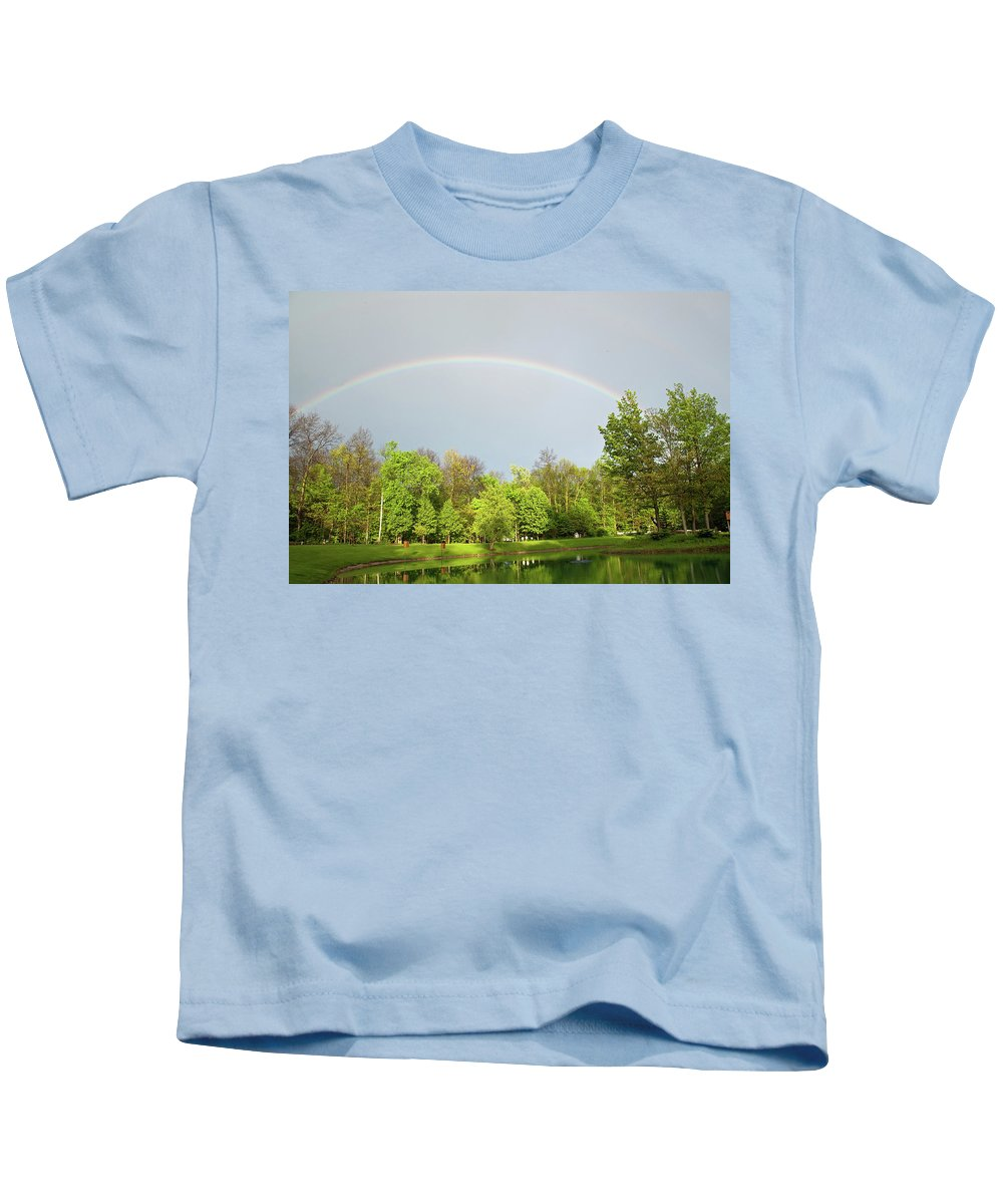 Rainbow Kids T-Shirt featuring the photograph Under The Rainbow by David Arment