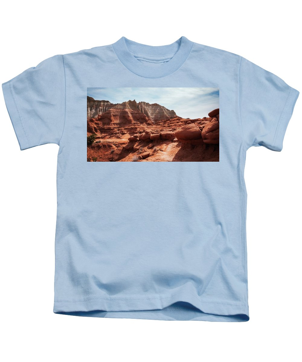 American Southwest Kids T-Shirt featuring the photograph Unusual Rock Formations At Kodachrome Park, Utah by Daniela Constantinescu