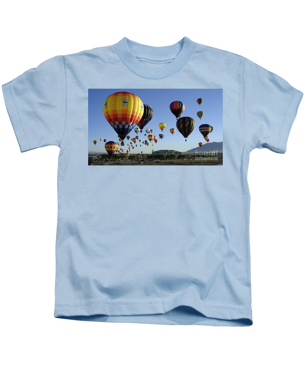 Balloons Kids T-Shirt featuring the photograph Up And Away by Mary Rogers