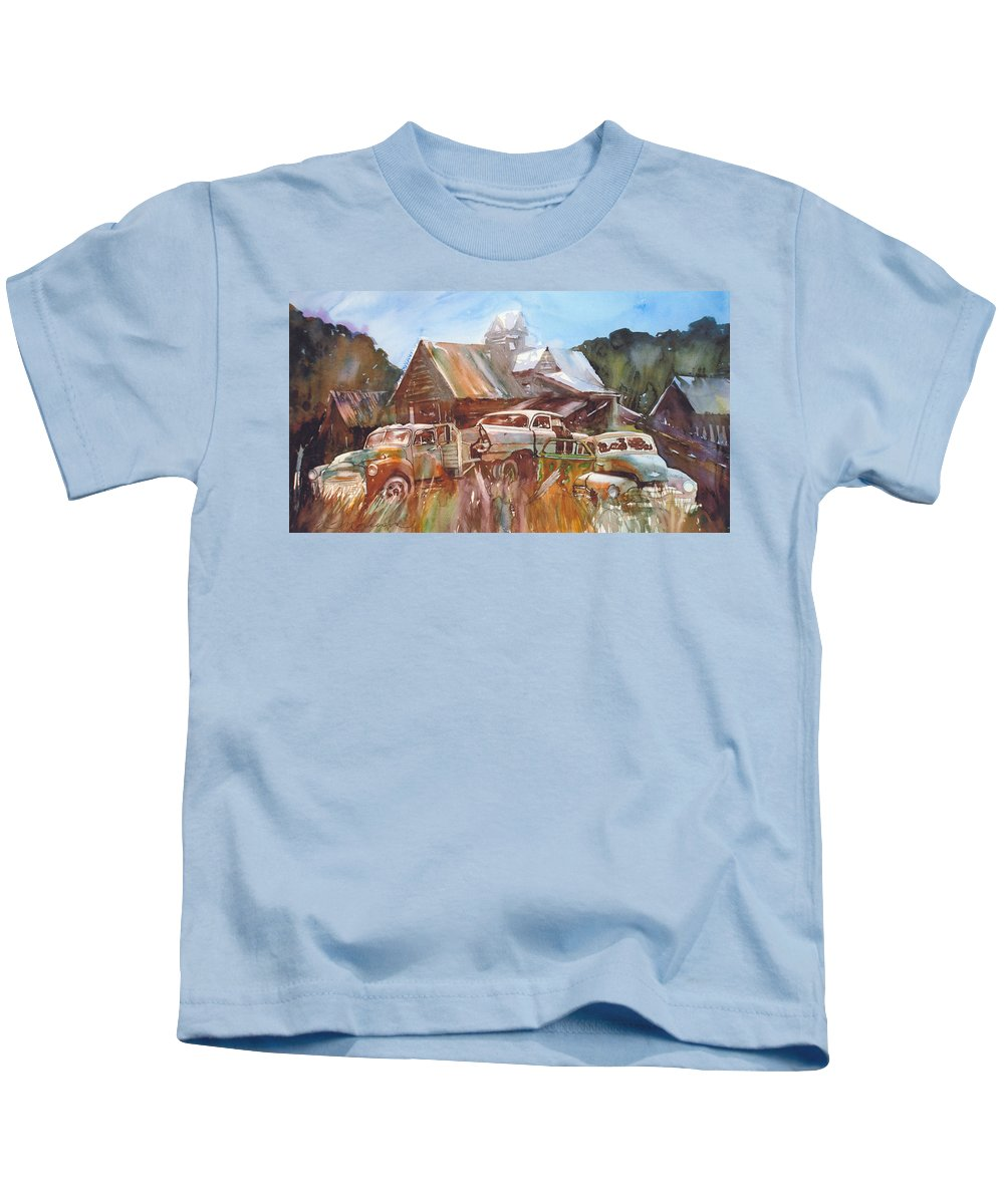 Chev Plymouth House Barn Kids T-Shirt featuring the painting Up the Road a Bit by Ron Morrison