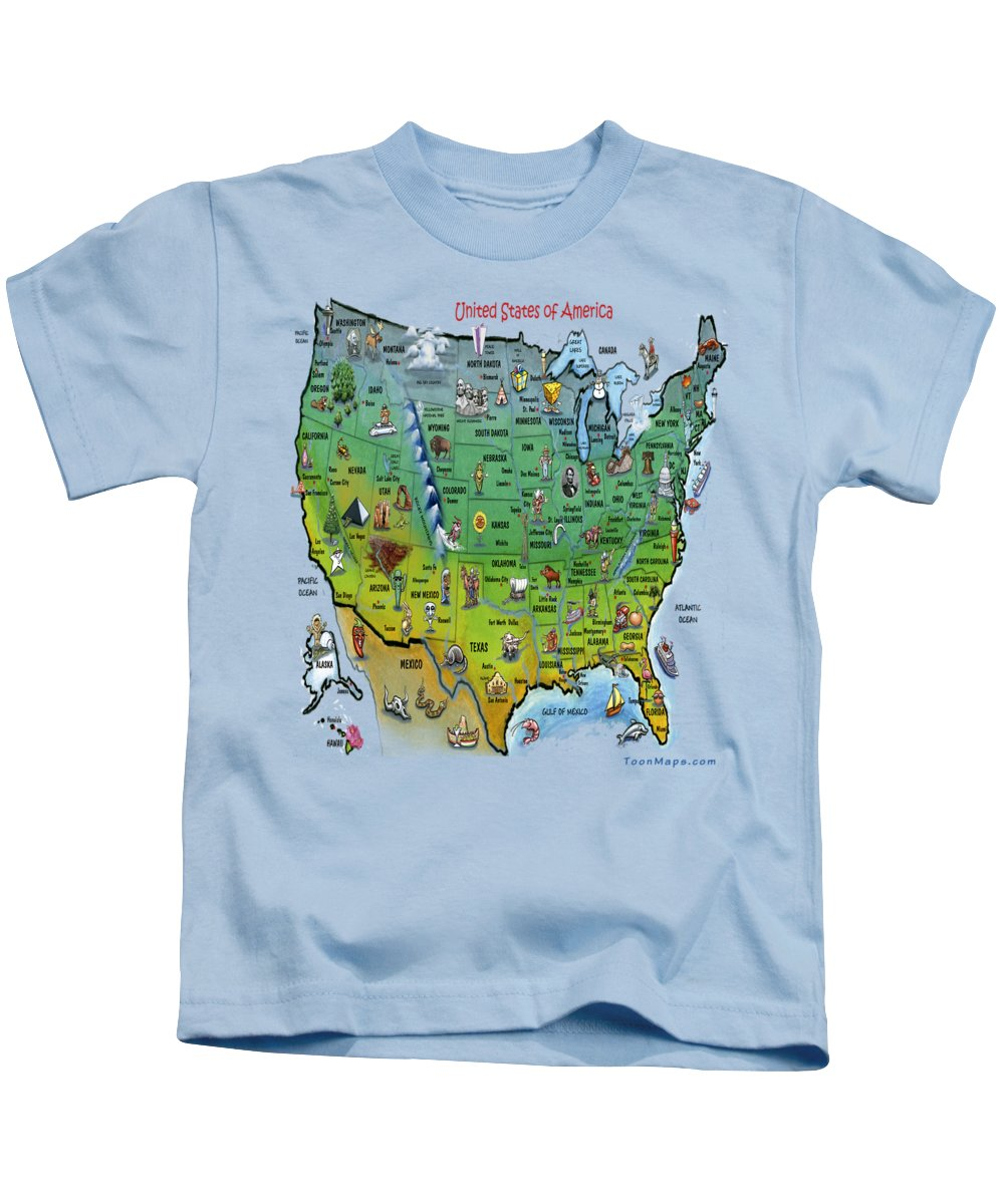 Map Kids T-Shirt featuring the painting Usa Cartoon Map by Kevin Middleton