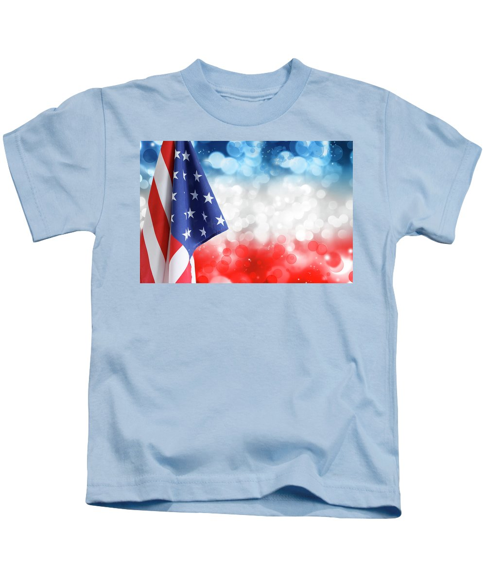 American Flag Kids T-Shirt featuring the photograph Usa Circles by Les Cunliffe