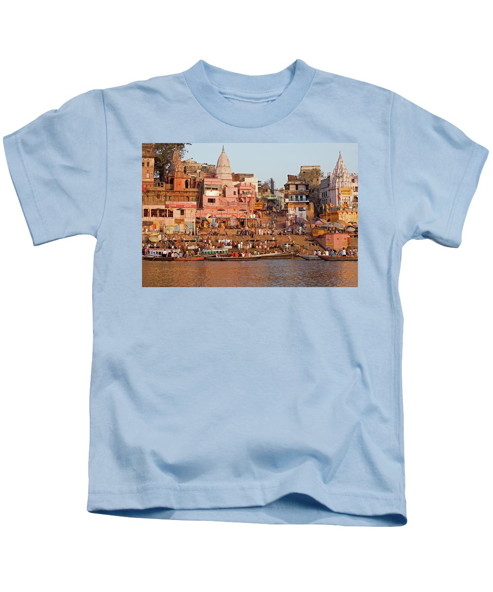 India Kids T-Shirt featuring the photograph Varanasi From Ganges River by Aivar Mikko