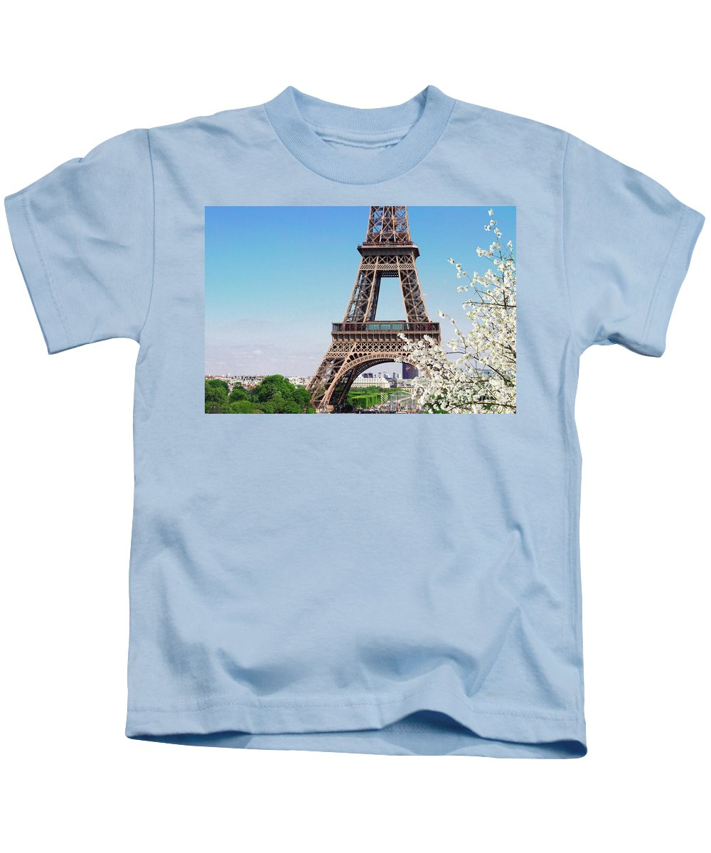 Eiffel Kids T-Shirt featuring the photograph Eiffel Tower And Spring by Anastasy Yarmolovich