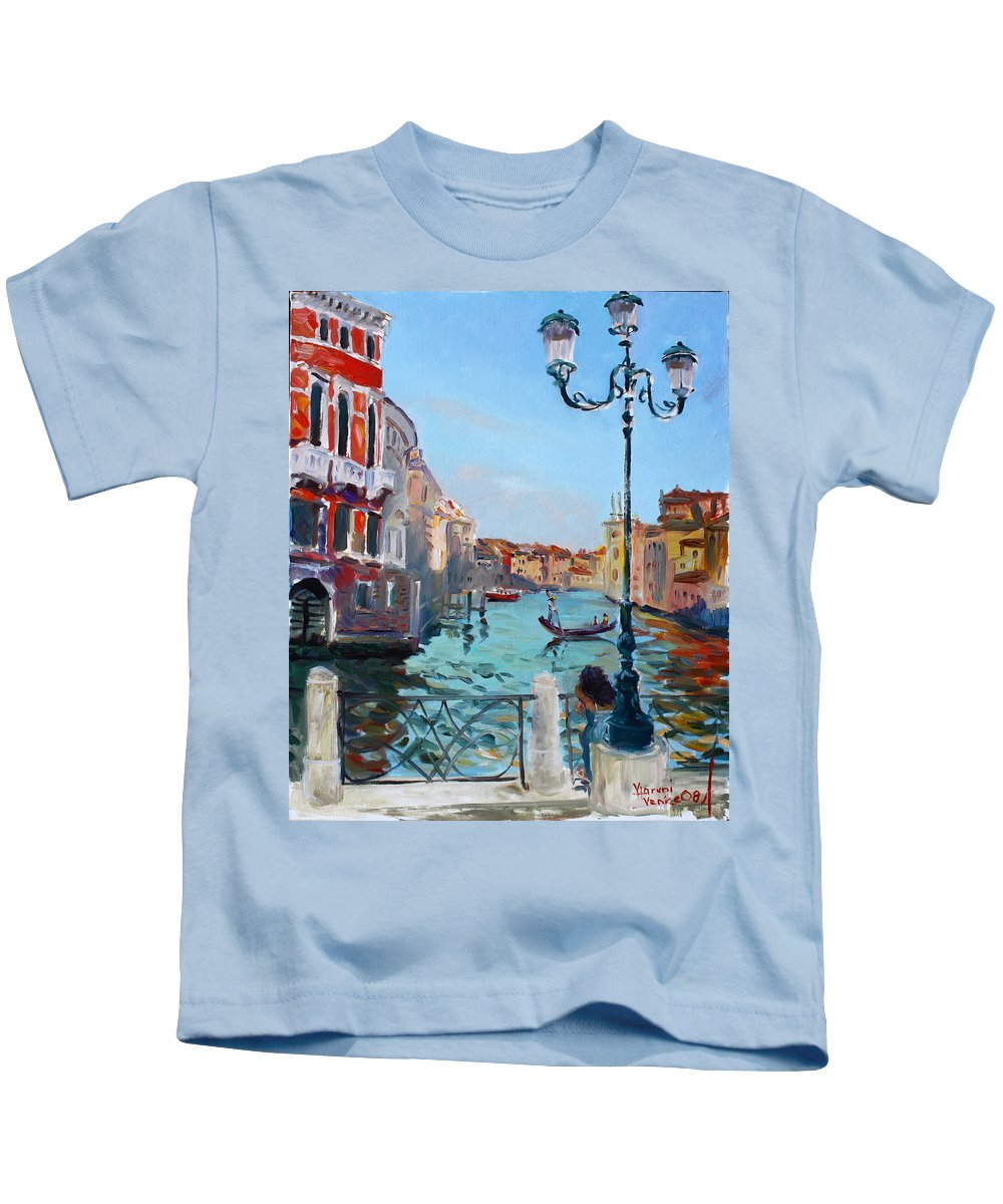 Italy Kids T-Shirt featuring the painting Venice Aspetando by Ylli Haruni