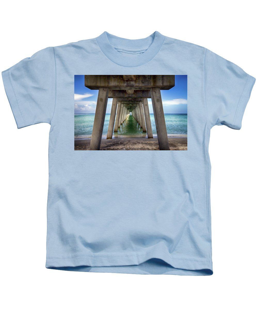 Pier Kids T-Shirt featuring the photograph Venice Pier by Charlie Grindrod