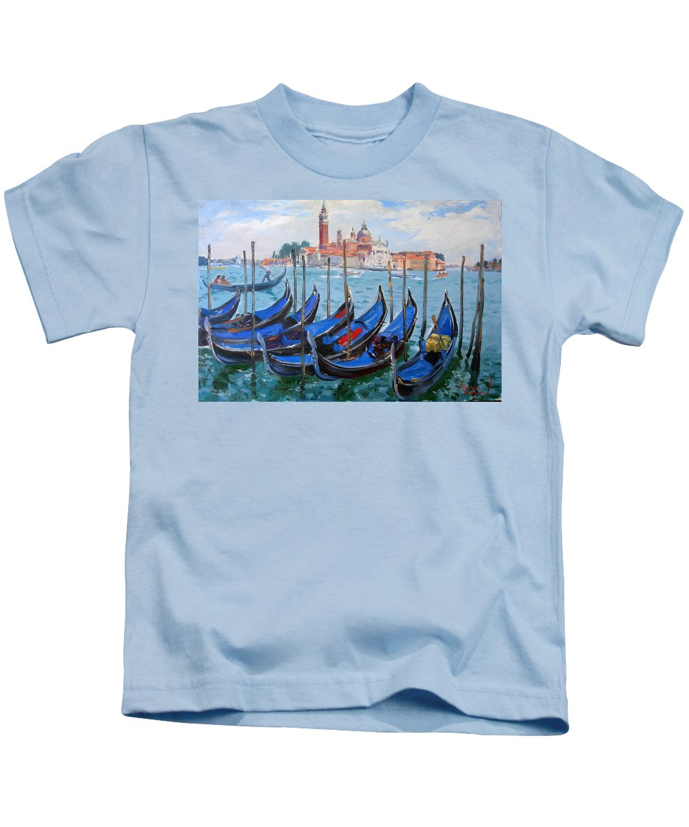 Italy Kids T-Shirt featuring the painting Venice View Of San Giorgio Maggiore by Ylli Haruni