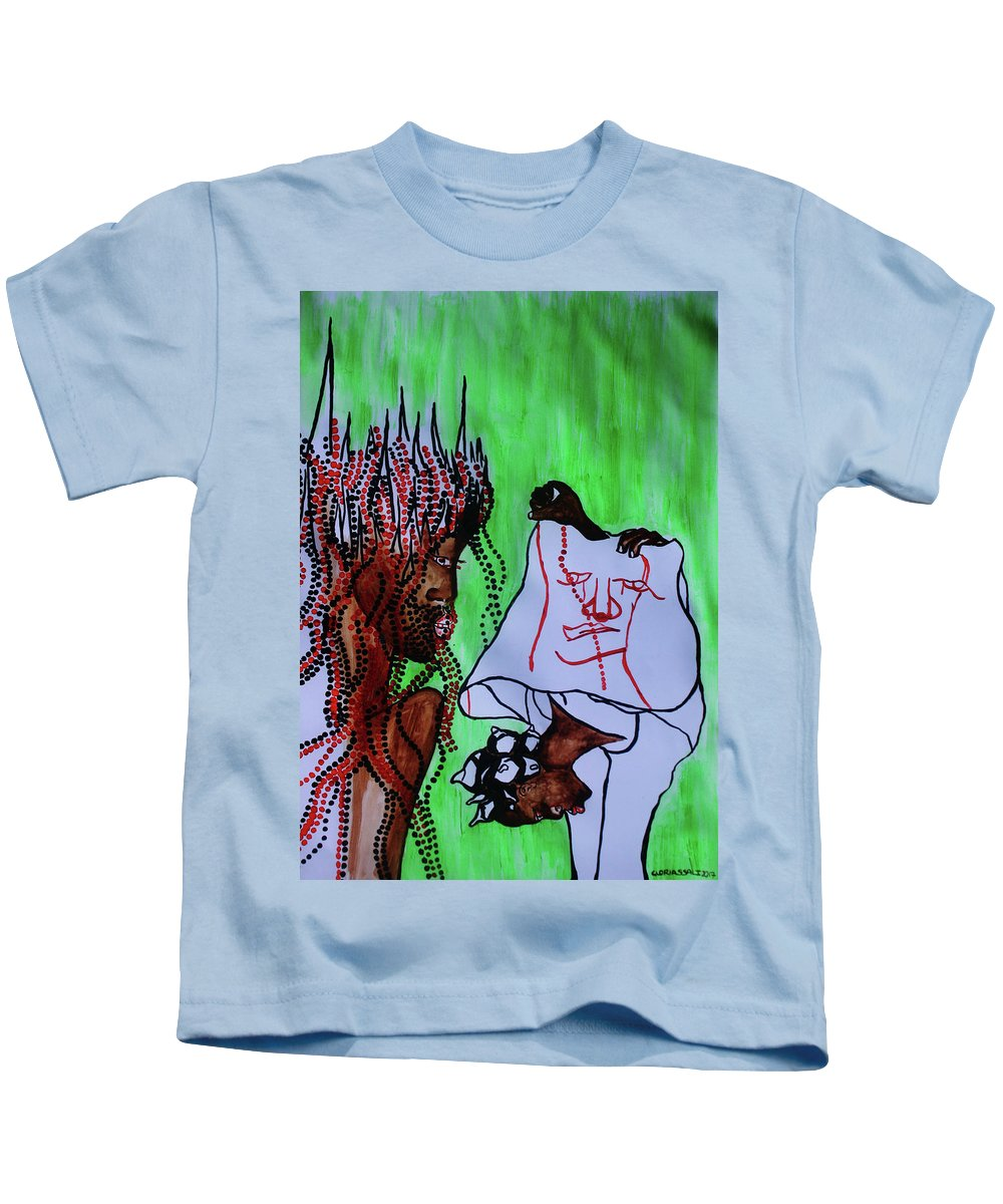 Jesus Kids T-Shirt featuring the painting Veronica Wipes The Face Of Jesus by Gloria Ssali