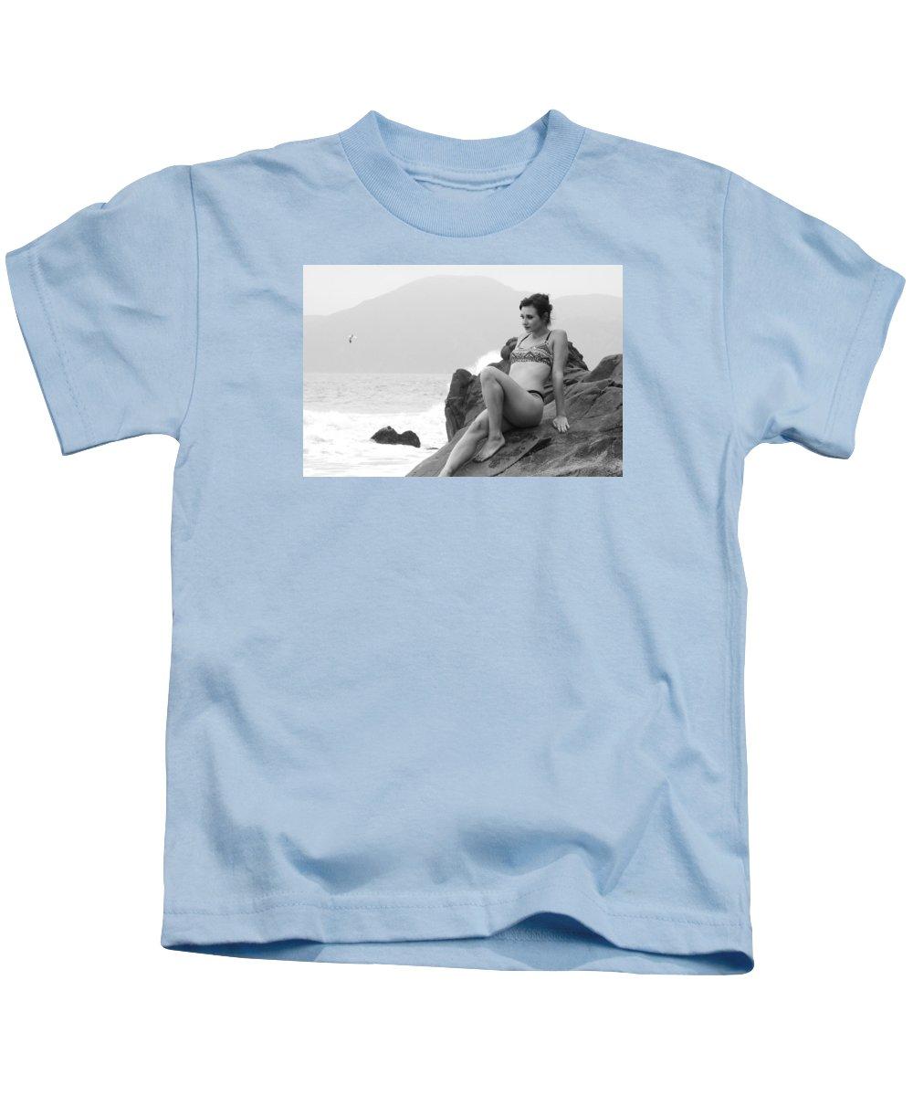 Bikini Kids T-Shirt featuring the photograph Victoria Bw 188 by Remegio Dalisay