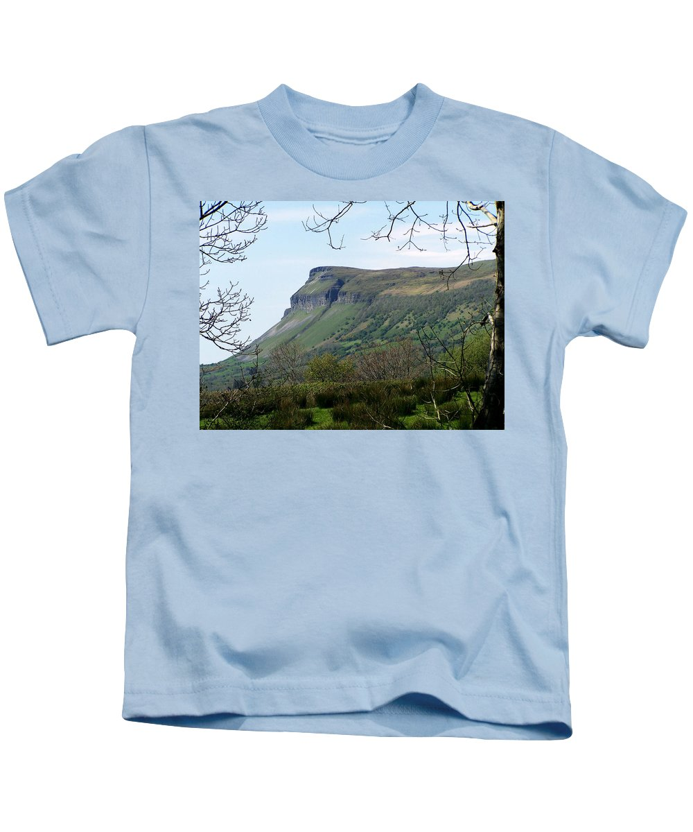 Irish Kids T-Shirt featuring the photograph View Of Benbulben From Glencar Lake Ireland by Teresa Mucha
