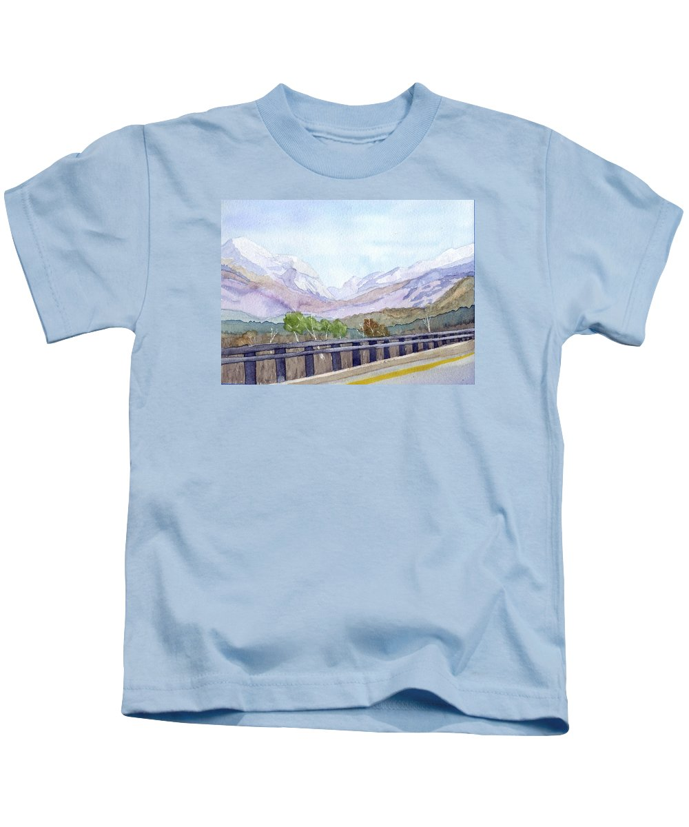 Franconia Notch Kids T-Shirt featuring the painting View Of Franconia Notch by Sharon E Allen