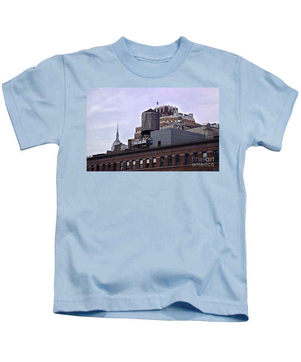Water Kids T-Shirt featuring the photograph View Of Water Tank From High Line Park by Madeline Ellis