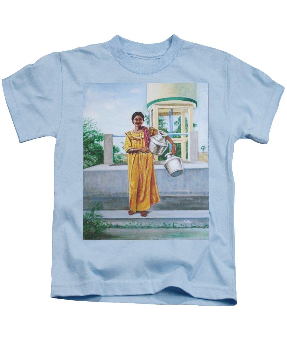 Usha Kids T-Shirt featuring the painting Village Belle by Usha Shantharam