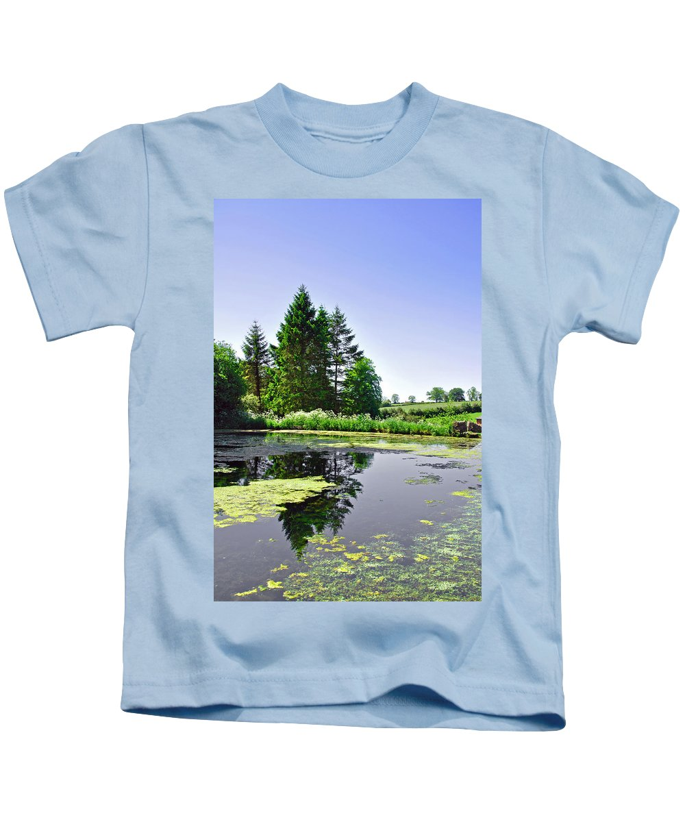 Green Kids T-Shirt featuring the photograph Village Pond At Tissington by Rod Johnson