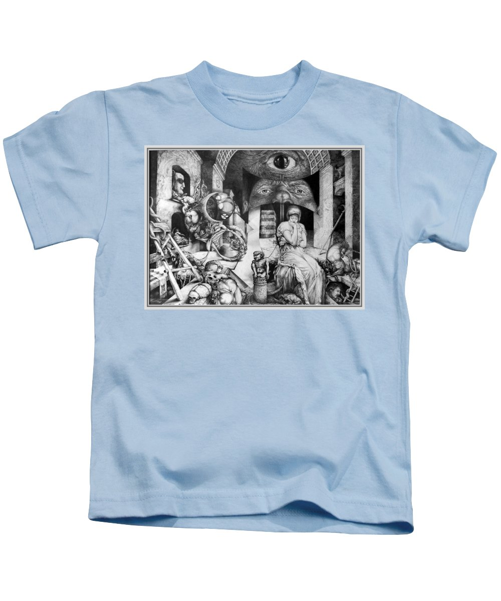 Surrealism Kids T-Shirt featuring the drawing Vindobona Altarpiece IIi - Snakes And Ladders by Otto Rapp