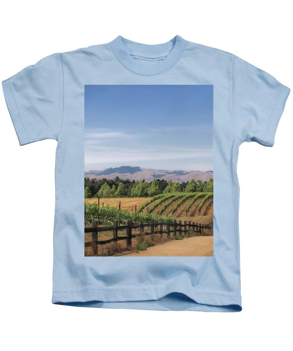 Landscapes Kids T-Shirt featuring the photograph Vineyard by Karen W Meyer