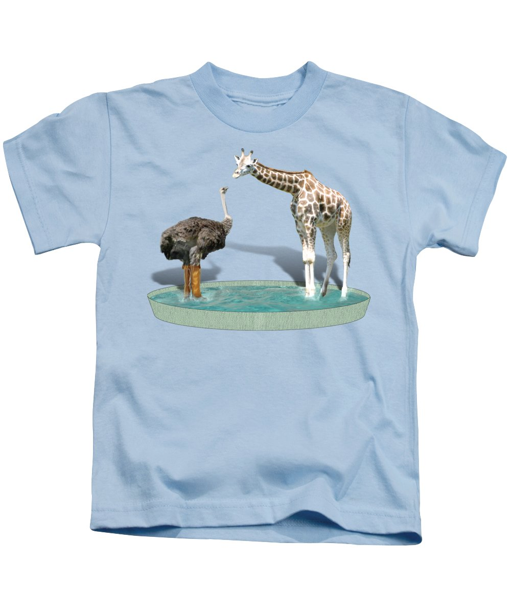 Ostrich Kids T-Shirt featuring the photograph Wading Pool by Gravityx9 Designs