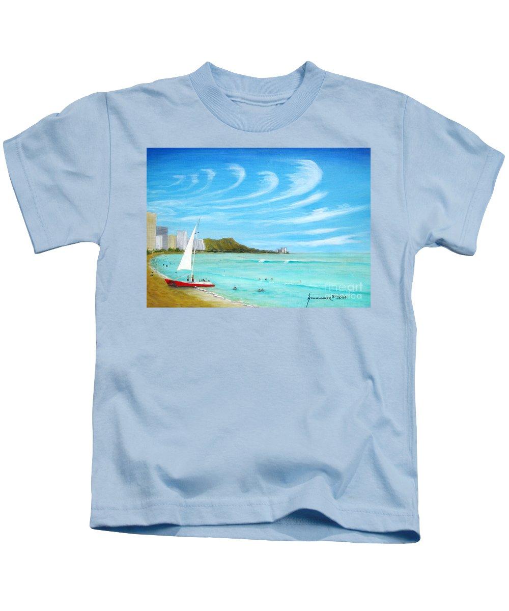 Waikiki Kids T-Shirt featuring the painting Waikiki by Jerome Stumphauzer