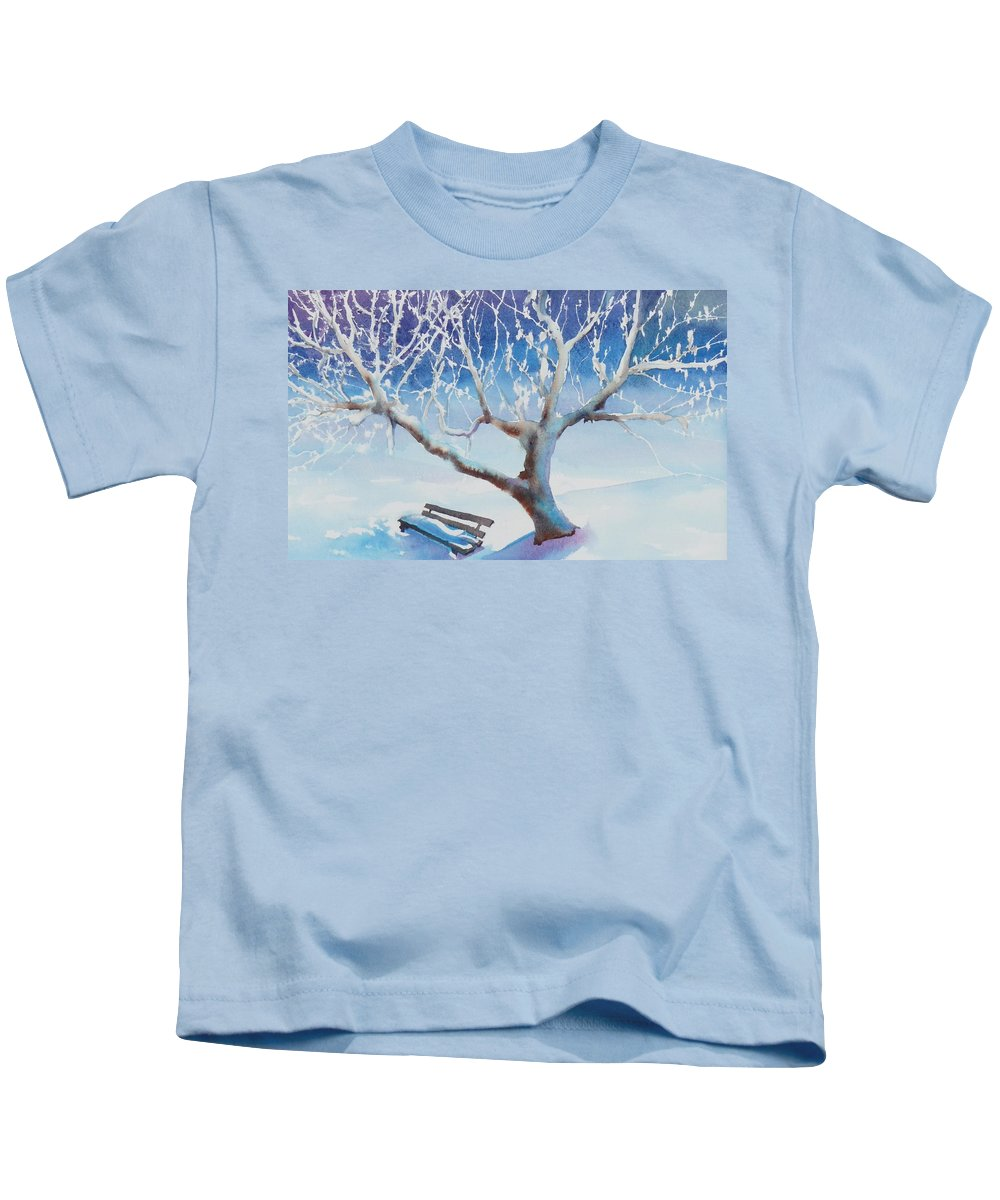 Snow Kids T-Shirt featuring the painting Waiting For Spring by Ruth Kamenev