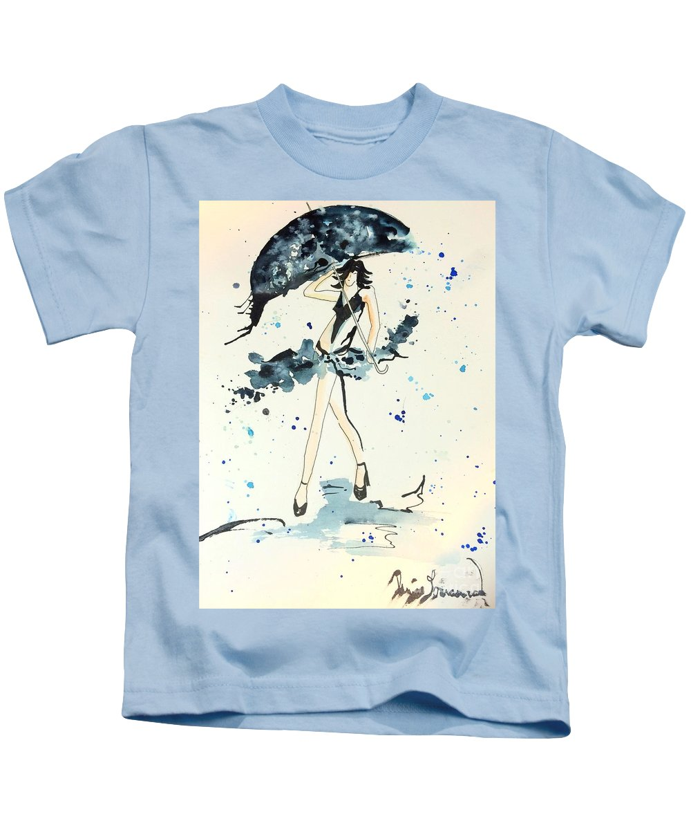 Abstract Kids T-Shirt featuring the painting Walk On by Denise Tomasura
