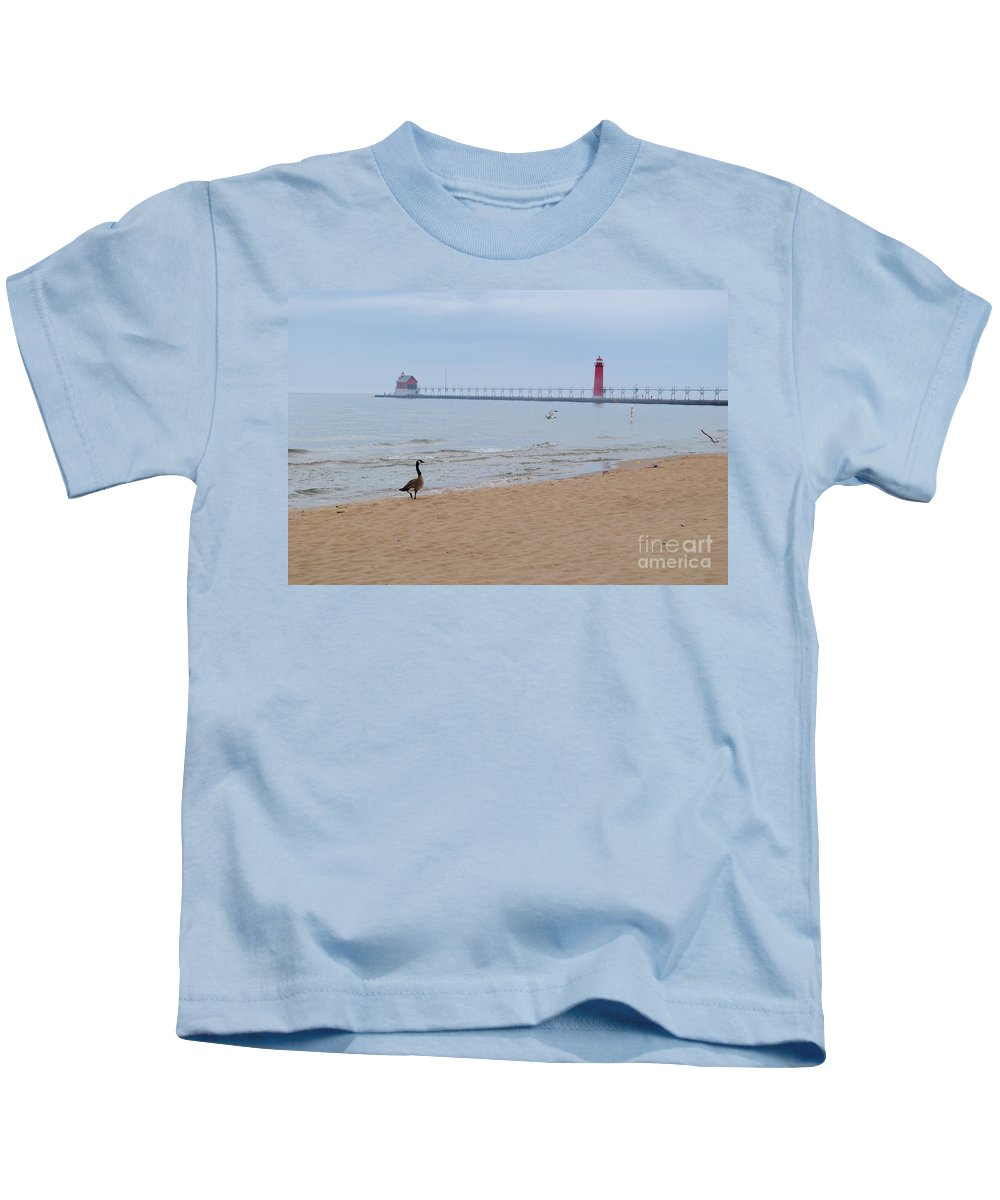 Lake Kids T-Shirt featuring the photograph Walk On Lake Michigan by Jost Houk