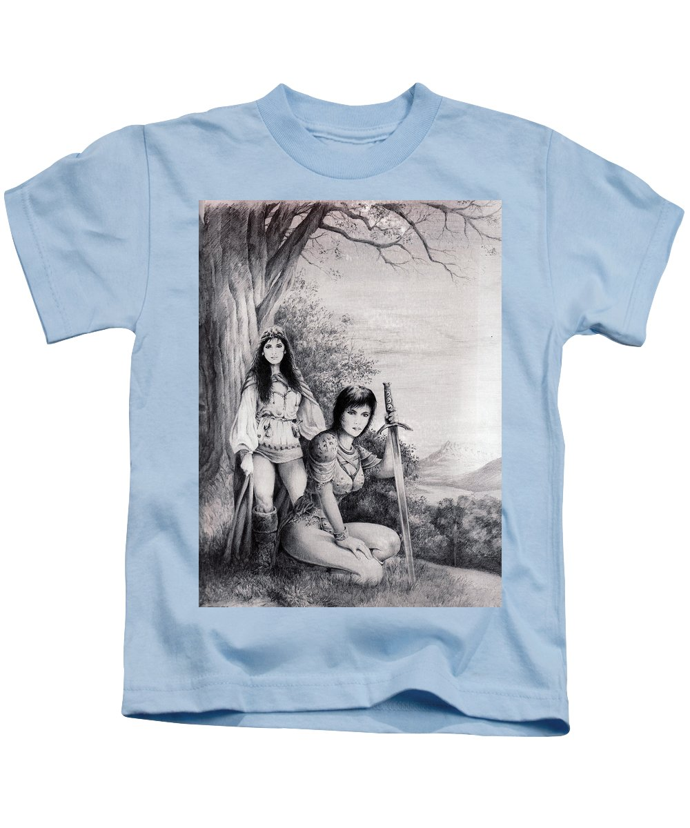 Floral Kids T-Shirt featuring the drawing Warriors by Rachel Christine Nowicki