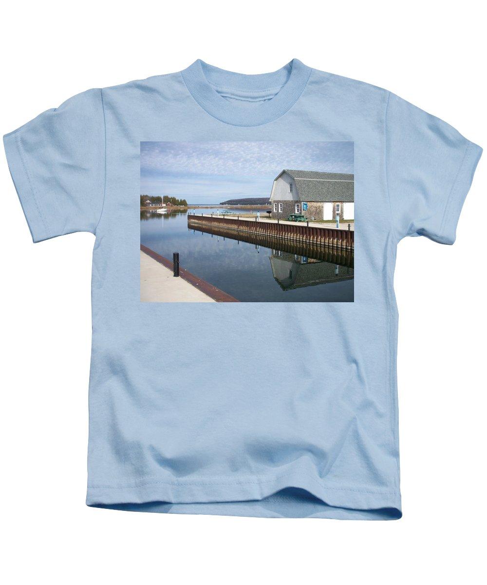Washington Island Kids T-Shirt featuring the photograph Washington Island Harbor 2 by Anita Burgermeister