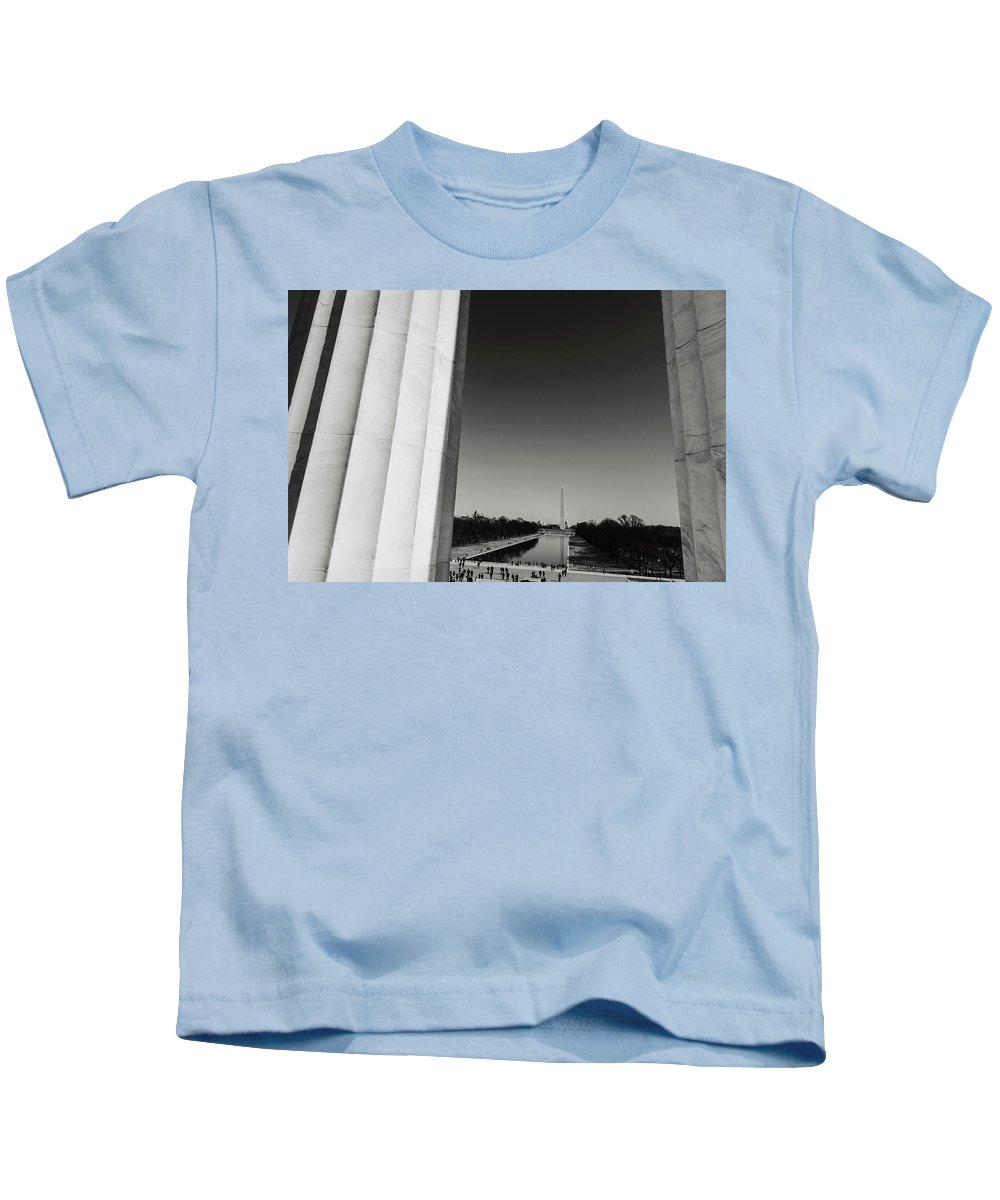 History Kids T-Shirt featuring the photograph Washington Monument And Capitol Hill by Brandon Bourdages
