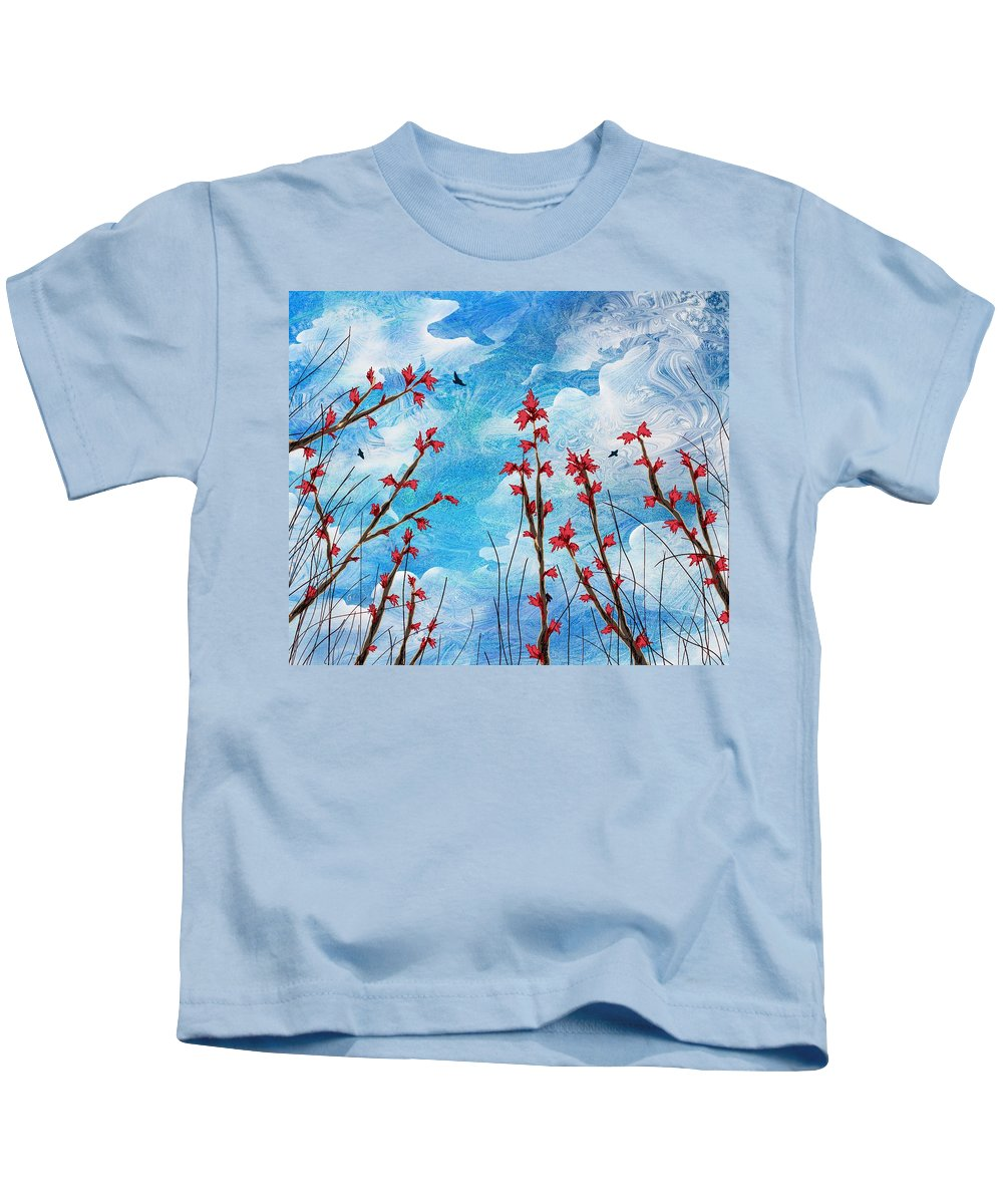 Abstract Kids T-Shirt featuring the digital art Watching Clouds Go By by Rachel Christine Nowicki