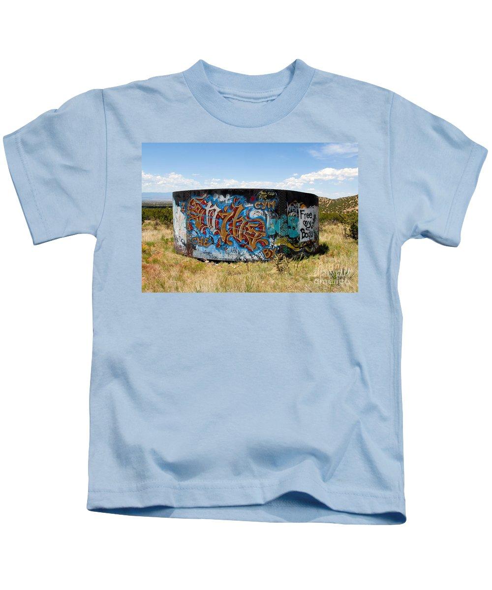 Graffiti Kids T-Shirt featuring the photograph Water Tank Graffiti by David Lee Thompson