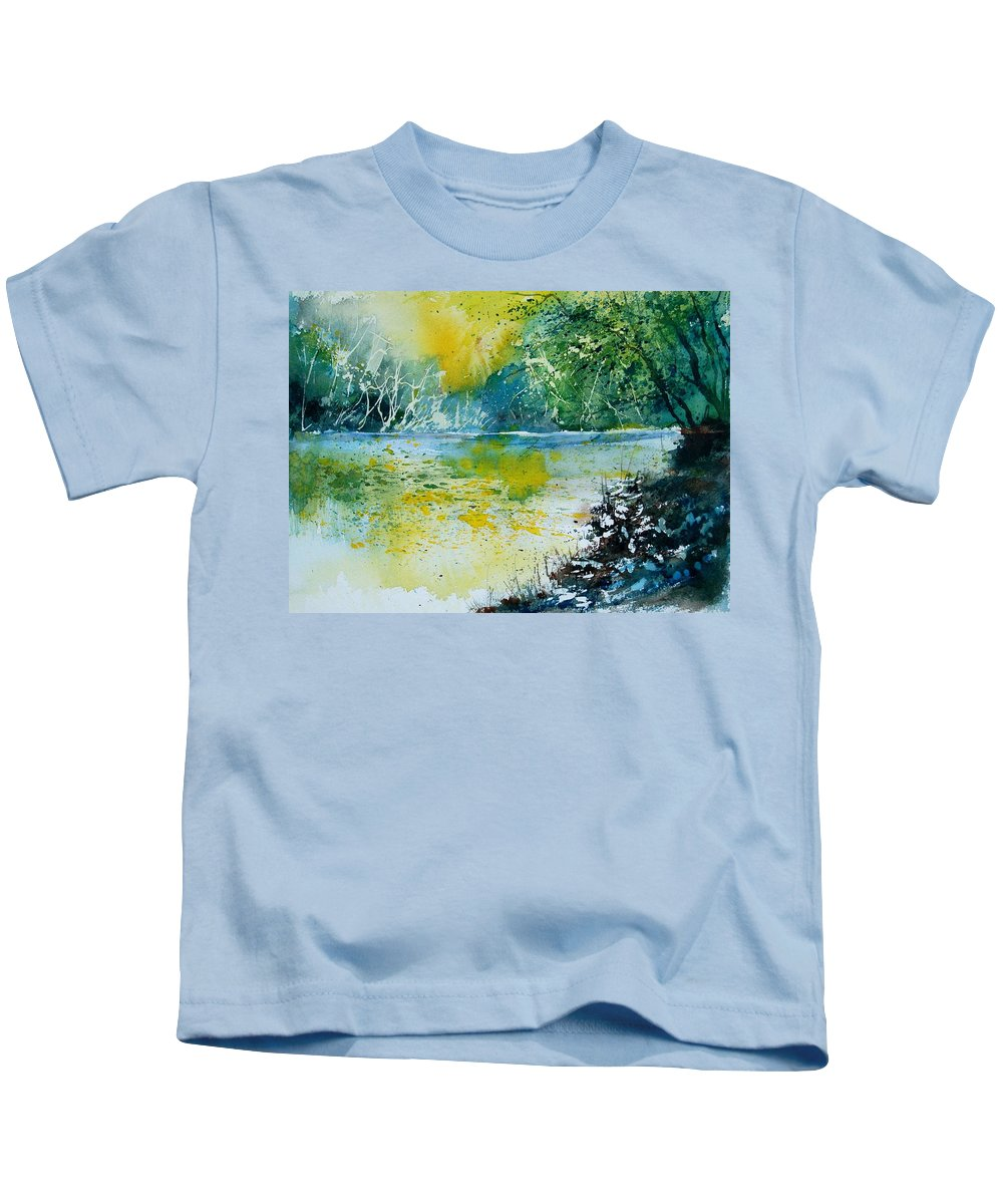 Pond Kids T-Shirt featuring the painting Watercolor 051108 by Pol Ledent