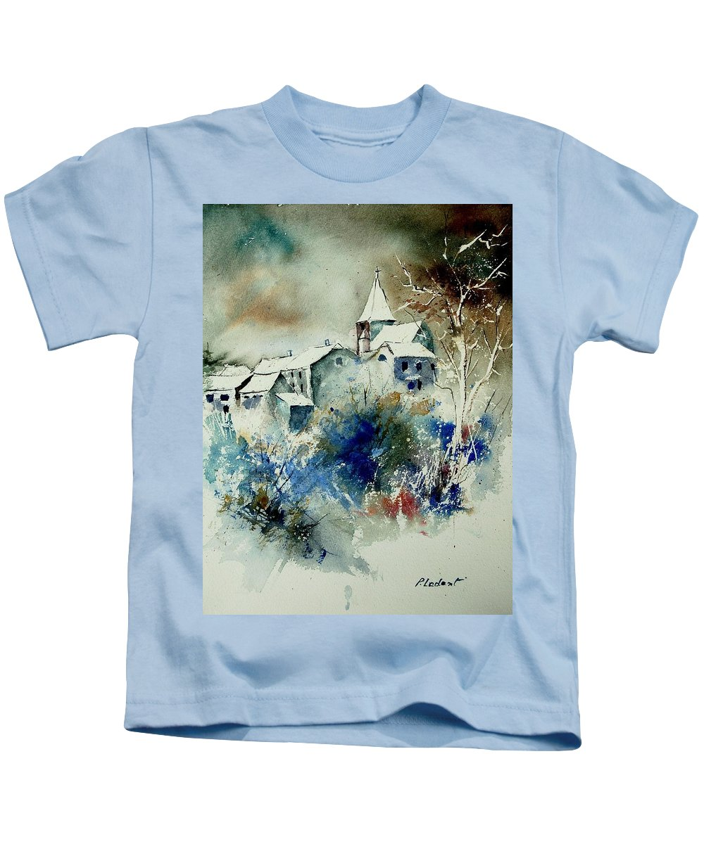Winter Kids T-Shirt featuring the painting Watercolor 140408 by Pol Ledent
