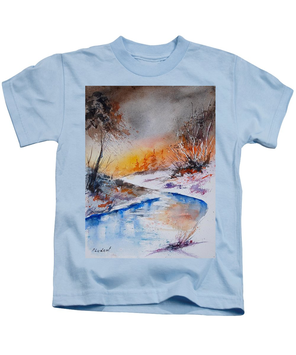 Snow Kids T-Shirt featuring the painting Watercolor 200308 by Pol Ledent
