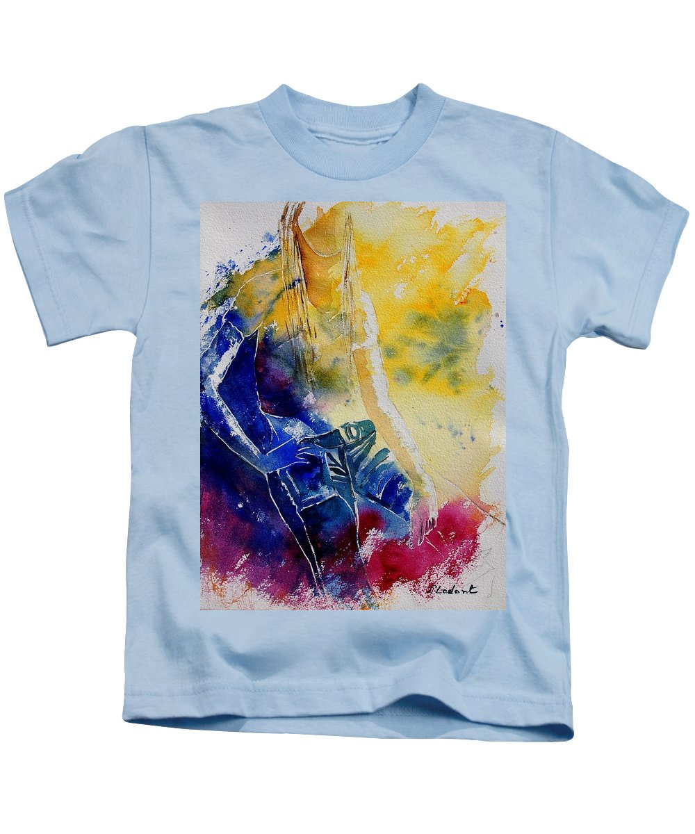Girl Nude Kids T-Shirt featuring the painting Watercolor 21546 by Pol Ledent