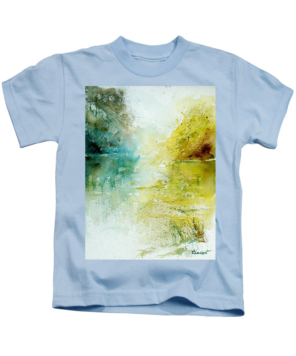 Pond Nature Landscape Kids T-Shirt featuring the painting Watercolor 24465 by Pol Ledent