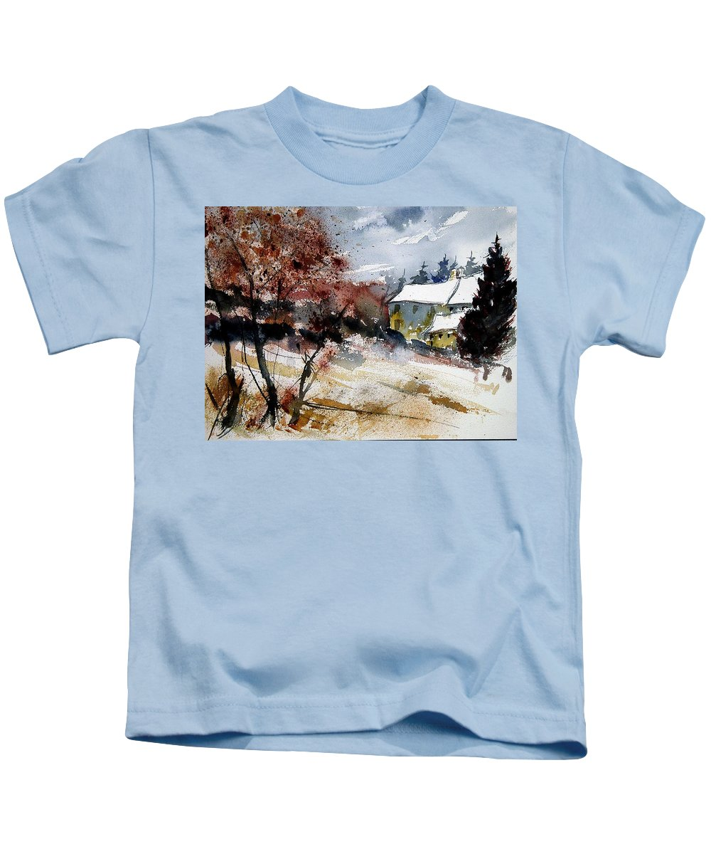 Winter Kids T-Shirt featuring the painting Watercolor 251205 by Pol Ledent