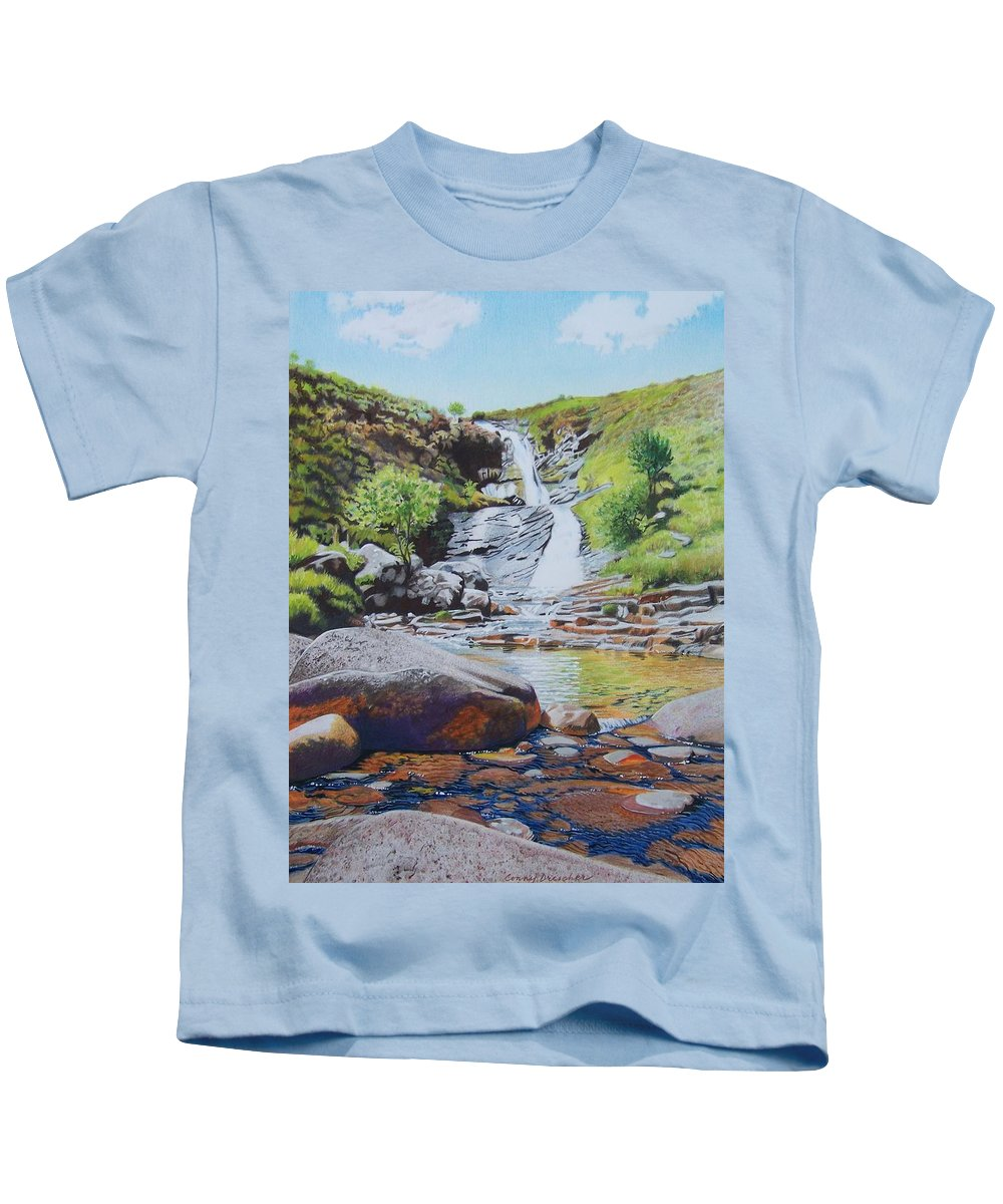 Waterfall Kids T-Shirt featuring the mixed media Waterfall On Skye 2 by Constance Drescher
