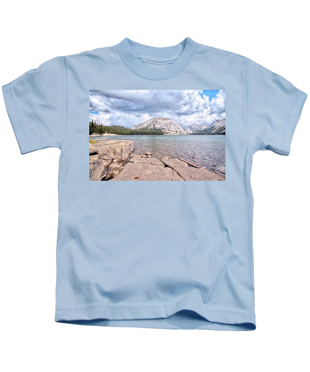 Mountain Kids T-Shirt featuring the photograph Waters Edge by Camille Lopez